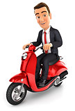 3d businessman riding a scooter