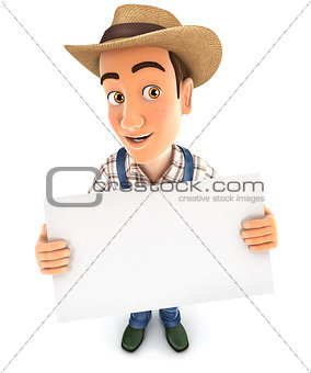 3d farmer holding a billboard