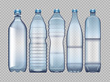 Vector set of blue transparent plastic bottle