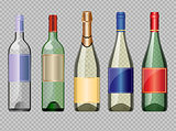 Vector set of colored transparent glass alcohol