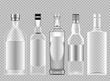 Vector set of transparent glass vodka alcohol