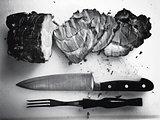 black and white image of steak meat food