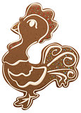 Christmas gingerbread rooster decor with sweet glaze