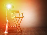 Video, movie, cinema concept.  Clapperboard and director chair.