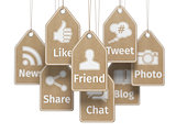Social media internet communication concept. Signs of apps on th