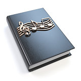 Music book with music notes and clef isolated on white backgroun