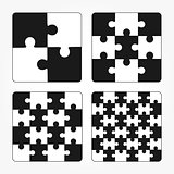Jigsaw puzzle four vector flat blank templates set