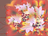 Decorative bunches of grapes and leaves on autumn background in red and orange shades. EPS10 vector illustration