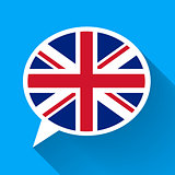 White speech bubble with Great Britain flag