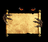 Paws of a monster holding a vintage scroll