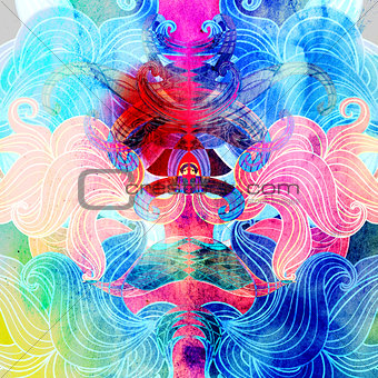 Watercolor multicolored abstract wavy elements