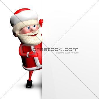 3D Illustration Jolly Santa Claus with  White Background