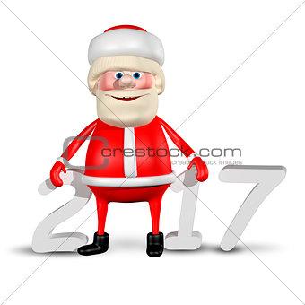 3D Illustration Jolly Santa Claus_2017