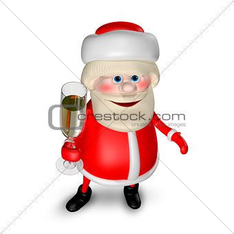 3D Illustration of Santa Claus with  Glass of Champagne