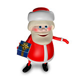 3D Illustration of Santa Claus with Gifts