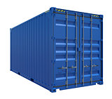 Blue shipping container