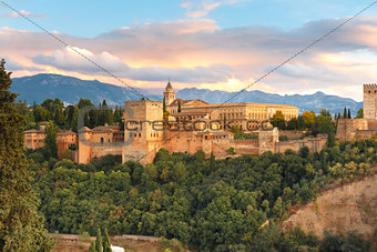 Alhambra at sunset in Granada, Andalusia, Spain