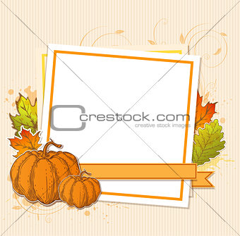 Autumn frame with pumpkins