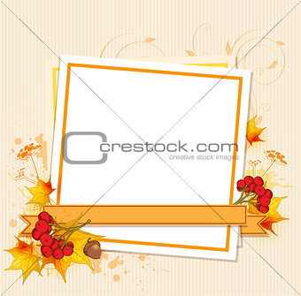 Autumn frame with berry and leaves