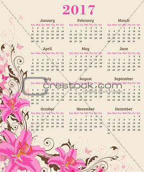 Calendar with pink lily