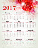 Calendar for 2017 year with rose
