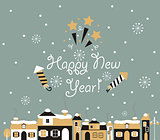 Happy new year Greeting Card, winter town.