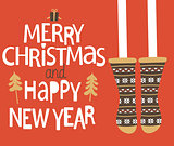 Christmas and Happy new year Greeting Card.