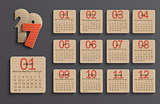 Modern calendar 2017 in a paper official style.