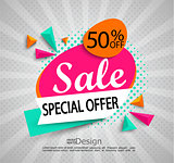 Sale - special offer - bright modern banner.
