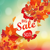 Big sale - autumn background.