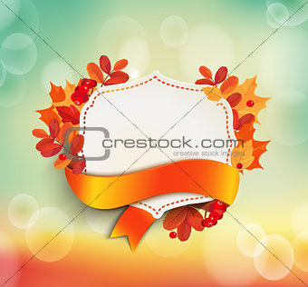 Autumn background with vintage frame.