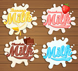 Milk labels splash on wood background.