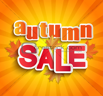 Autumn sale lettering with leaves.