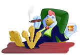 Blue fat cock boss with cigar and whiskey put his feet on table. Rooster symbol 2017