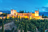 Alhambra at night in Granada, Andalusia, Spain