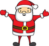 Cute Cartoon Santa Claus for Christmas. Isolated on white background. Vector illustration