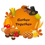 Happy Thanksgiving Day. Vector banner with traditional table plenty of food, roasted turkey, cornucopia with pumpkins, fruits and vegetables. Decoration for thanksgiving greeting cards