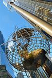 Steel globe at Columbus Circle.