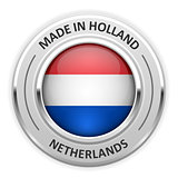Silver medal Made in Netherlands with flag