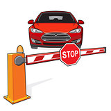 Barrier, stop sign, car