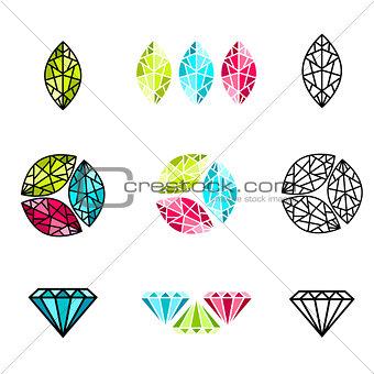 Abstract gemstone Logo Design Set
