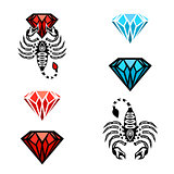Scorpion and Diamond Logo set