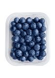 Blueberries in tray isolated on white background