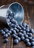 Blueberries in small steel bucket on grunge wooden board