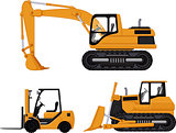 backhoe, forklift and bulldozer
