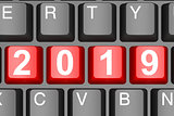 Year 2019 button on modern computer keyboard