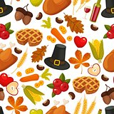 Thanksgivin day seamless background.Symbols of thanksgiving day and family traditions elements for holiday design on white background. Retro cartoon style vector illustration