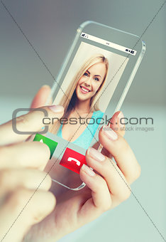 close up of woman with incoming call on smartphone