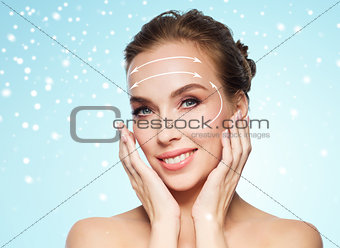 beautiful woman with lifting arrows on her face