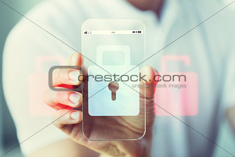 close up of hand with security lock on smartphone